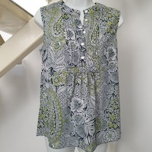 J Crew Sleeveless Green Paisley Floral Top Size 4